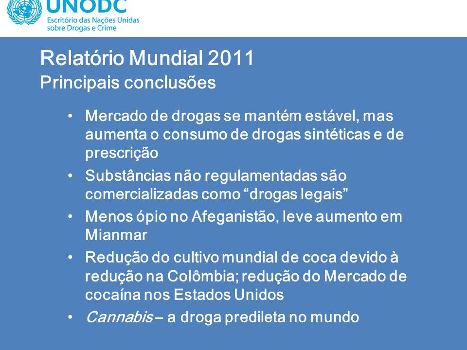 Relatório Mundial 2011 Principais conclusões Mercado de drogas se mantém estável, mas aumenta o consumo de drogas sintéticas e de prescrição Substânci