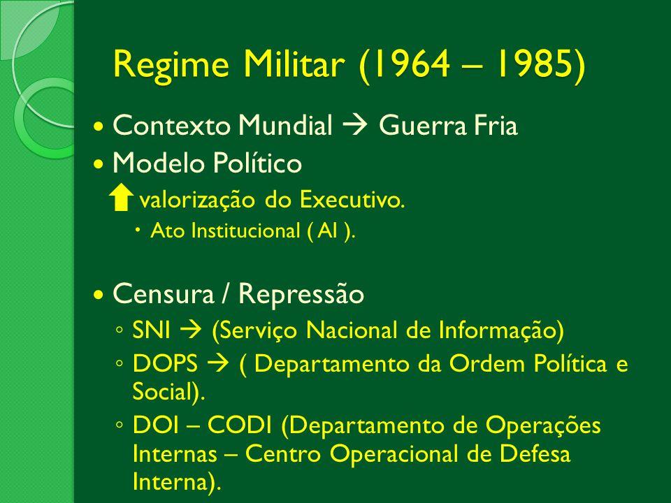 Contexto Mundial Guerra Fria Modelo Político valorização do Executivo. Ato Institucional ( AI ). Censura / Repressão SNI (Serviço Nacional de Informaç