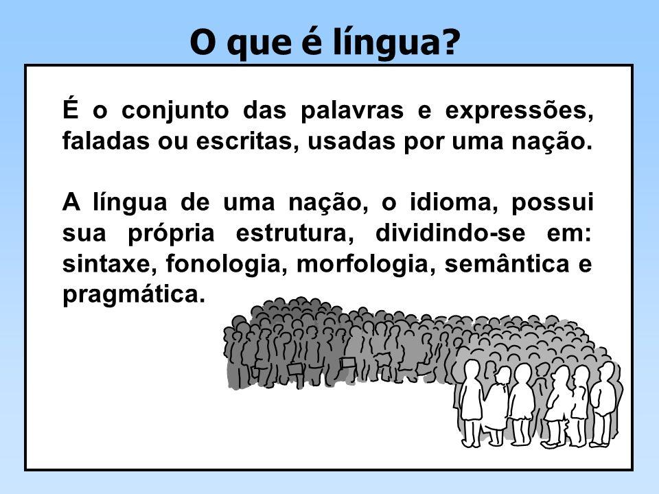 O que é língua.É o conjunto das palavras e expressões, faladas ou escritas, usadas por uma nação.