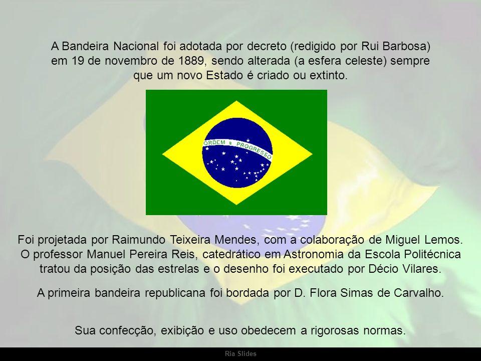 Ria Slides A bandeira atual do Brasil adotada pela República mantém a tradição das antigas cores nacionais, verde e amarelo, do seguinte modo: um losa