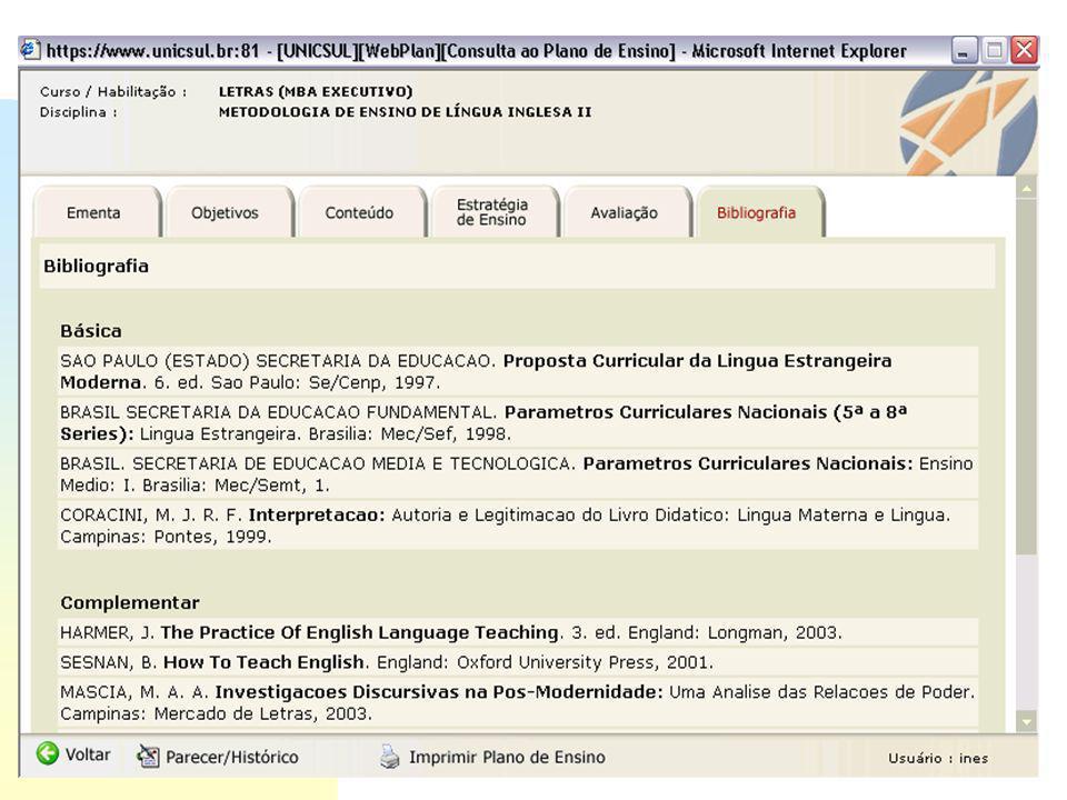 PLANO DE ENSINO objetivosementasconteúdosbibliografia WebPlan CATÁLOGO ONLINE COMPRA AUTOMATIZADA
