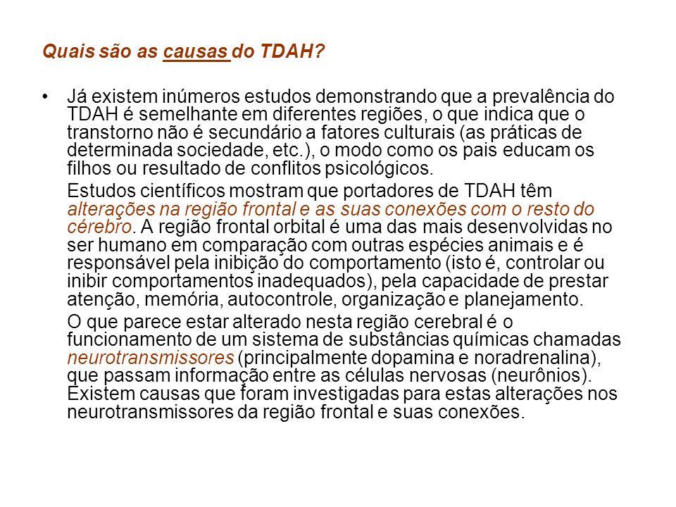 Quais são as causas do TDAH? Já existem inúmeros estudos demonstrando que a prevalência do TDAH é semelhante em diferentes regiões, o que indica que o