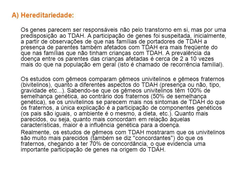 A)Hereditariedade: Os genes parecem ser responsáveis não pelo transtorno em si, mas por uma predisposição ao TDAH. A participação de genes foi suspeit