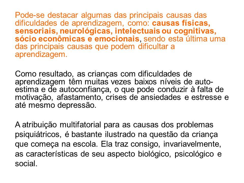 Uma vez esclarecido que psiquiatras não são médicos que só tratam de loucos, vejamos os transtornos que interferem na escolaridade e aprendizagem das crianças: 1 - Depressão Infantil 2 - Déficit de Atenção por Hiperatividade 3 - Ansiedade (de Separação) na Infância 4 - Deficiência Mental Ballone, GJ - Dificuldades de Aprendizagem - in.