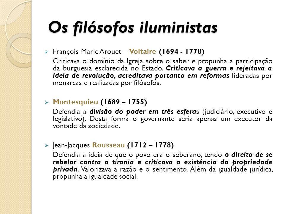 Os filósofos iluministas François-Marie Arouet – Voltaire (1694 - 1778) Criticava o domínio da Igreja sobre o saber e propunha a participação da burgu
