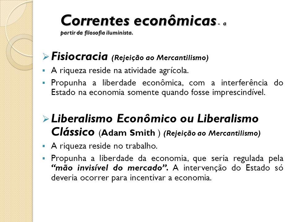 Correntes econômicas - a partir da filosofia iluminista. Fisiocracia (Rejeição ao Mercantilismo) A riqueza reside na atividade agrícola. Propunha a li