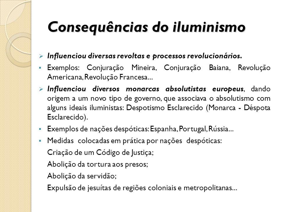 Consequências do iluminismo Influenciou diversas revoltas e processos revolucionários. Exemplos: Conjuração Mineira, Conjuração Baiana, Revolução Amer