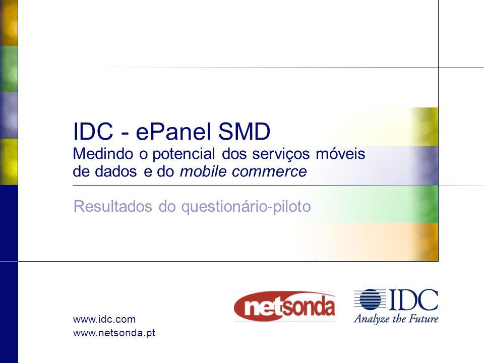 www.idc.com www.netsonda.pt IDC - ePanel SMD Medindo o potencial dos serviços móveis de dados e do mobile commerce Resultados do questionário-piloto