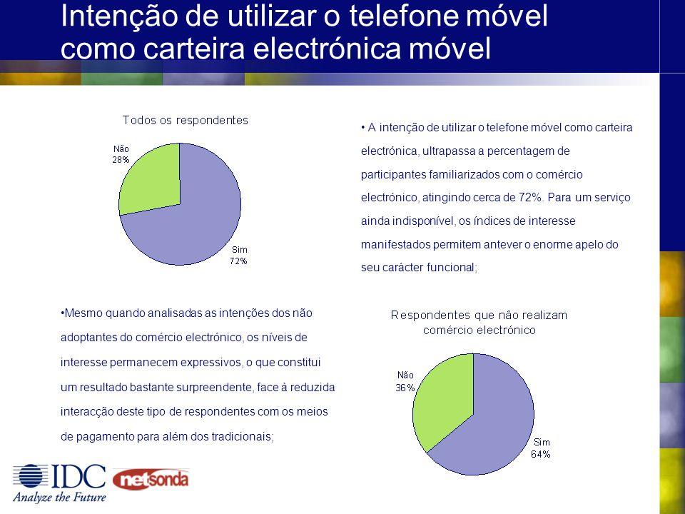Intenção de utilizar o telefone móvel como carteira electrónica móvel A intenção de utilizar o telefone móvel como carteira electrónica, ultrapassa a percentagem de participantes familiarizados com o comércio electrónico, atingindo cerca de 72%.
