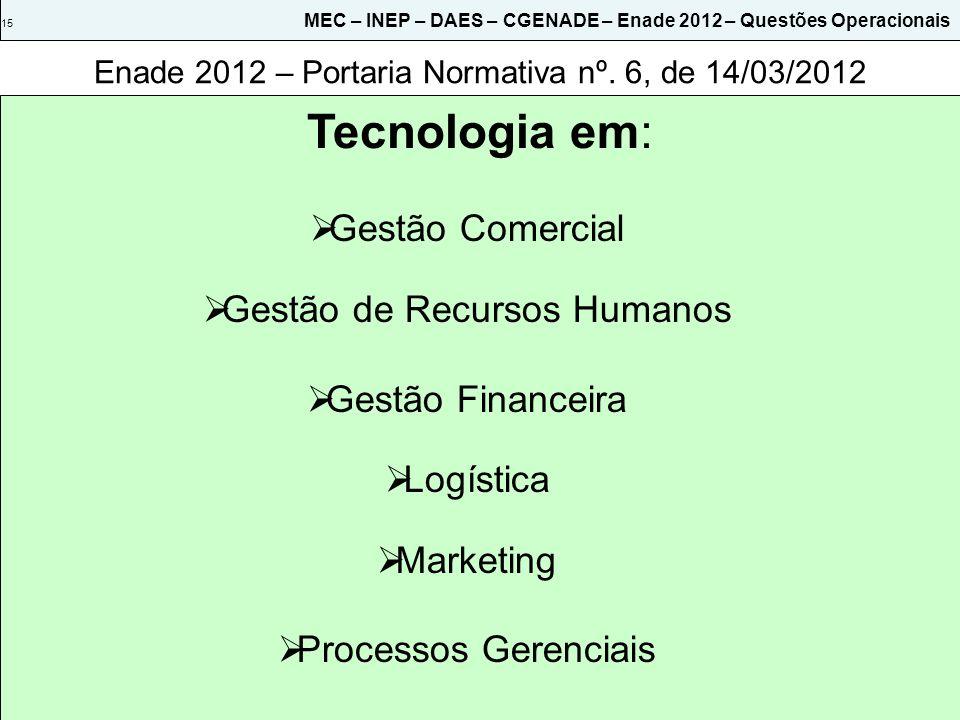 Enade 2012 – Portaria Normativa nº. 6, de 14/03/2012 Tecnologia em: 15 MEC – INEP – DAES – CGENADE – Enade 2012 – Questões Operacionais Gestão Comerci