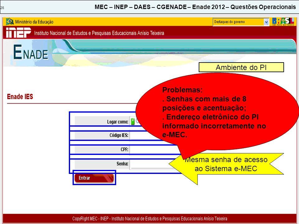 26 MEC – INEP – DAES – CGENADE – Enade 2012 – Questões Operacionais Ambiente do PI Mesma senha de acesso ao Sistema e-MEC Problemas:. Senhas com mais