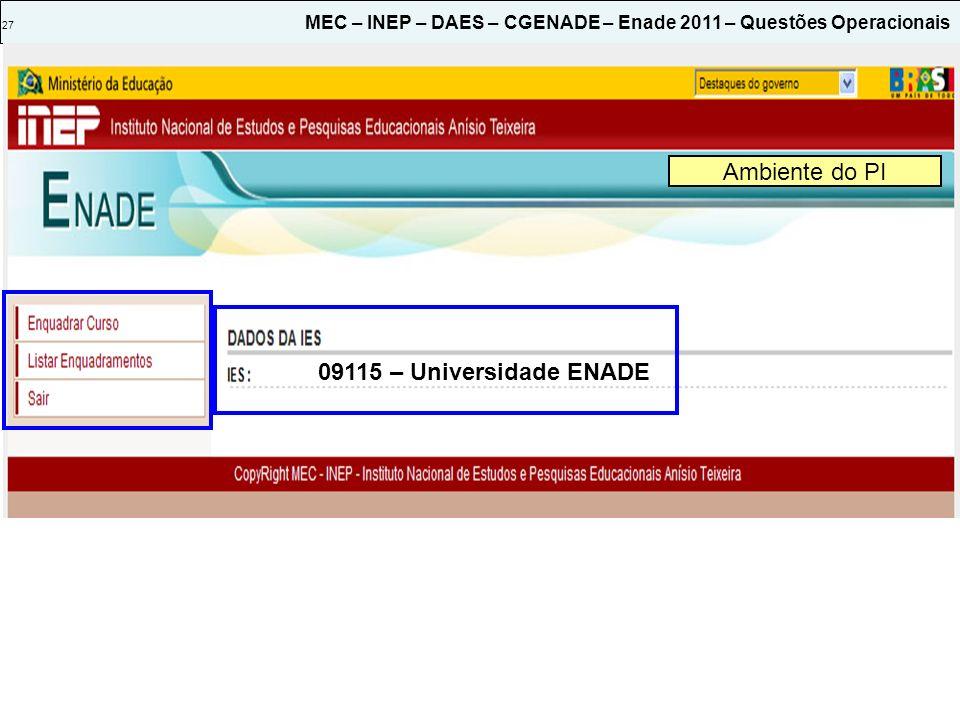 27 MEC – INEP – DAES – CGENADE – Enade 2011 – Questões Operacionais Ambiente do PI 09115 – Universidade ENADE