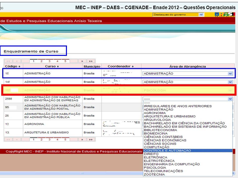 30 MEC – INEP – DAES – CGENADE – Enade 2012 – Questões Operacionais