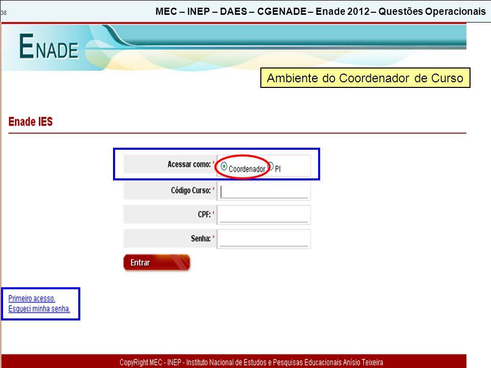 38 MEC – INEP – DAES – CGENADE – Enade 2012 – Questões Operacionais Ambiente do Coordenador de Curso