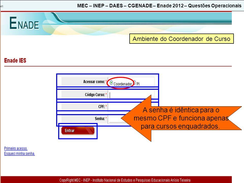 41 MEC – INEP – DAES – CGENADE – Enade 2012 – Questões Operacionais Ambiente do Coordenador de Curso A senha é idêntica para o mesmo CPF e funciona apenas para cursos enquadrados.