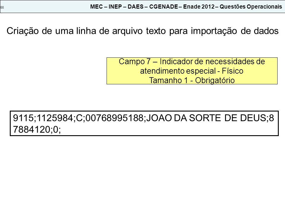 56 MEC – INEP – DAES – CGENADE – Enade 2012 – Questões Operacionais 9115; Campo 1 – Código da Instituição Tamanho 6 - Obrigatório Criação de uma linha