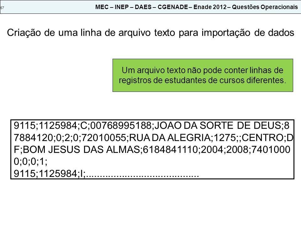 57 MEC – INEP – DAES – CGENADE – Enade 2012 – Questões Operacionais Criação de uma linha de arquivo texto para importação de dados Utilize a tecla ENT
