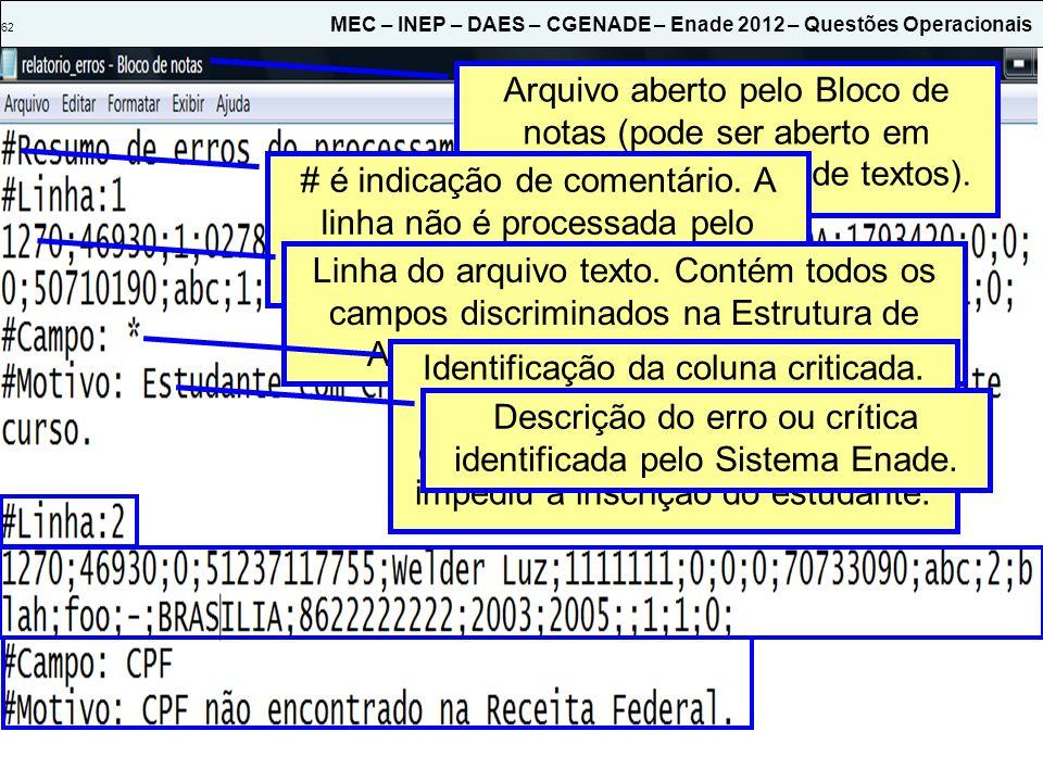 62 MEC – INEP – DAES – CGENADE – Enade 2012 – Questões Operacionais Arquivo aberto pelo Bloco de notas (pode ser aberto em qualquer outro editor de te