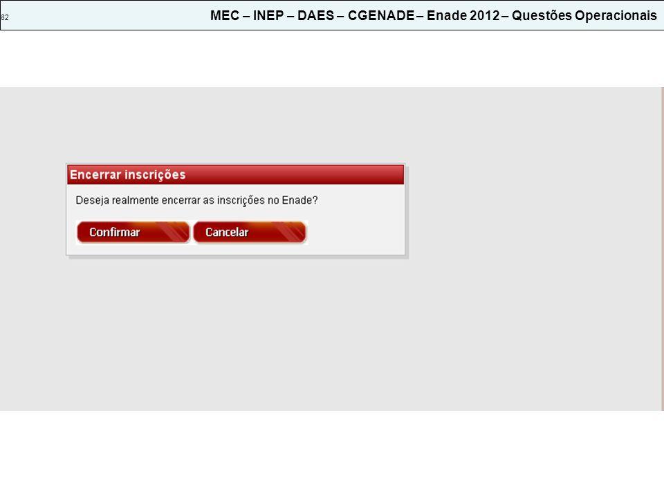 82 MEC – INEP – DAES – CGENADE – Enade 2012 – Questões Operacionais
