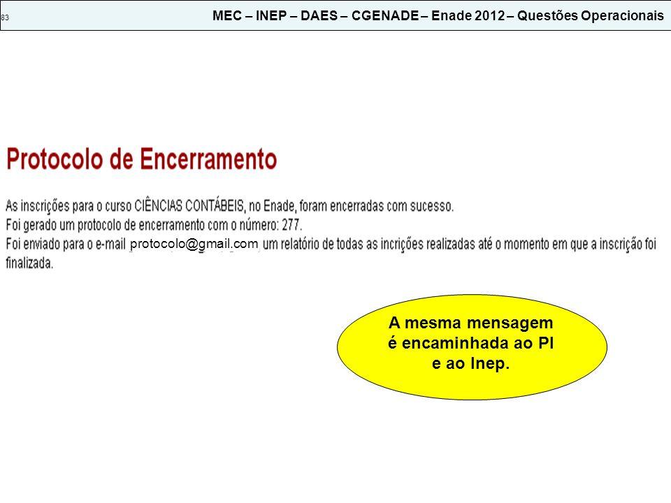 83 MEC – INEP – DAES – CGENADE – Enade 2012 – Questões Operacionais protocolo@gmail.com A mesma mensagem é encaminhada ao PI e ao Inep.