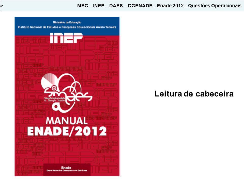 88 MEC – INEP – DAES – CGENADE – Enade 2012 – Questões Operacionais Leitura de cabeceira