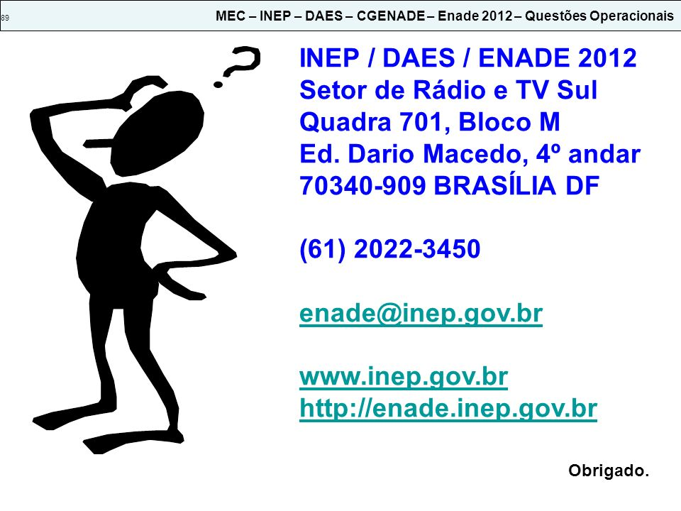 89 MEC – INEP – DAES – CGENADE – Enade 2012 – Questões Operacionais INEP / DAES / ENADE 2012 Setor de Rádio e TV Sul Quadra 701, Bloco M Ed. Dario Mac
