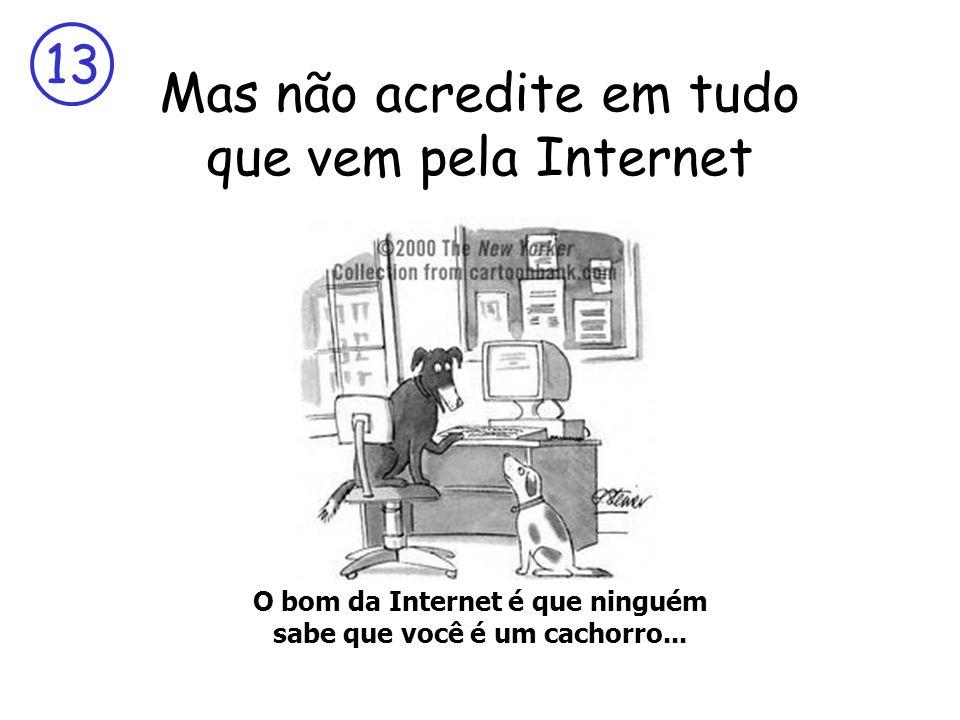 13 Mas não acredite em tudo que vem pela Internet O bom da Internet é que ninguém sabe que você é um cachorro...