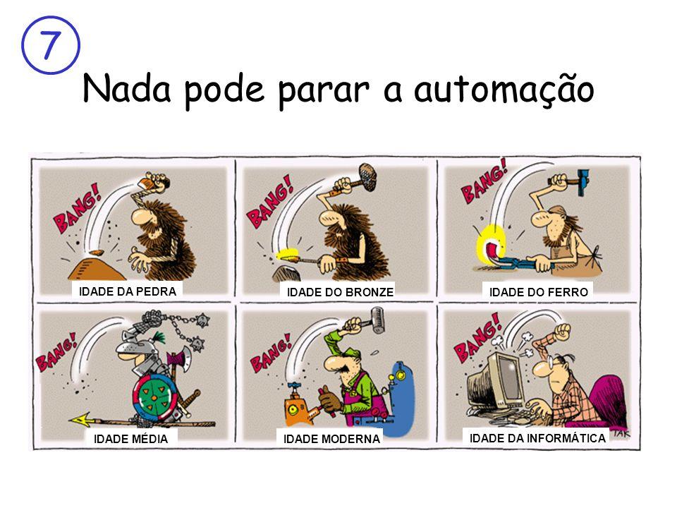 7 Nada pode parar a automação IDADE DA PEDRA IDADE DO BRONZEIDADE DO FERRO IDADE MÉDIAIDADE MODERNA IDADE DA INFORMÁTICA