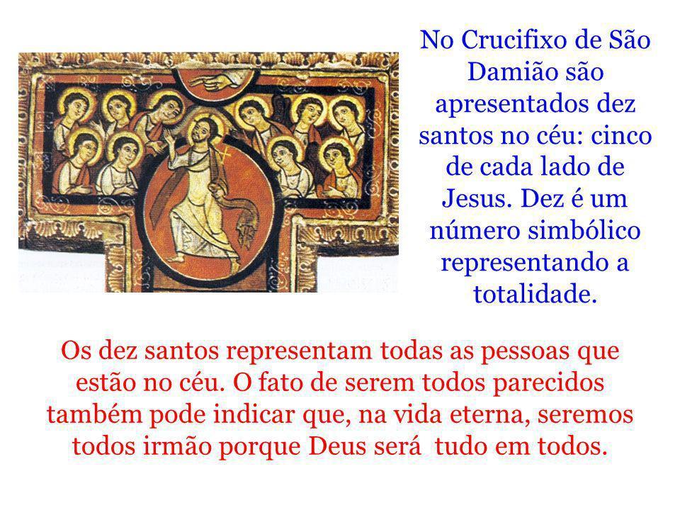 Os dez santos representam todas as pessoas que estão no céu. O fato de serem todos parecidos também pode indicar que, na vida eterna, seremos todos ir