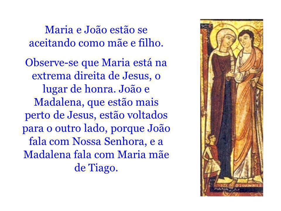 Maria e João estão se aceitando como mãe e filho. Observe-se que Maria está na extrema direita de Jesus, o lugar de honra. João e Madalena, que estão