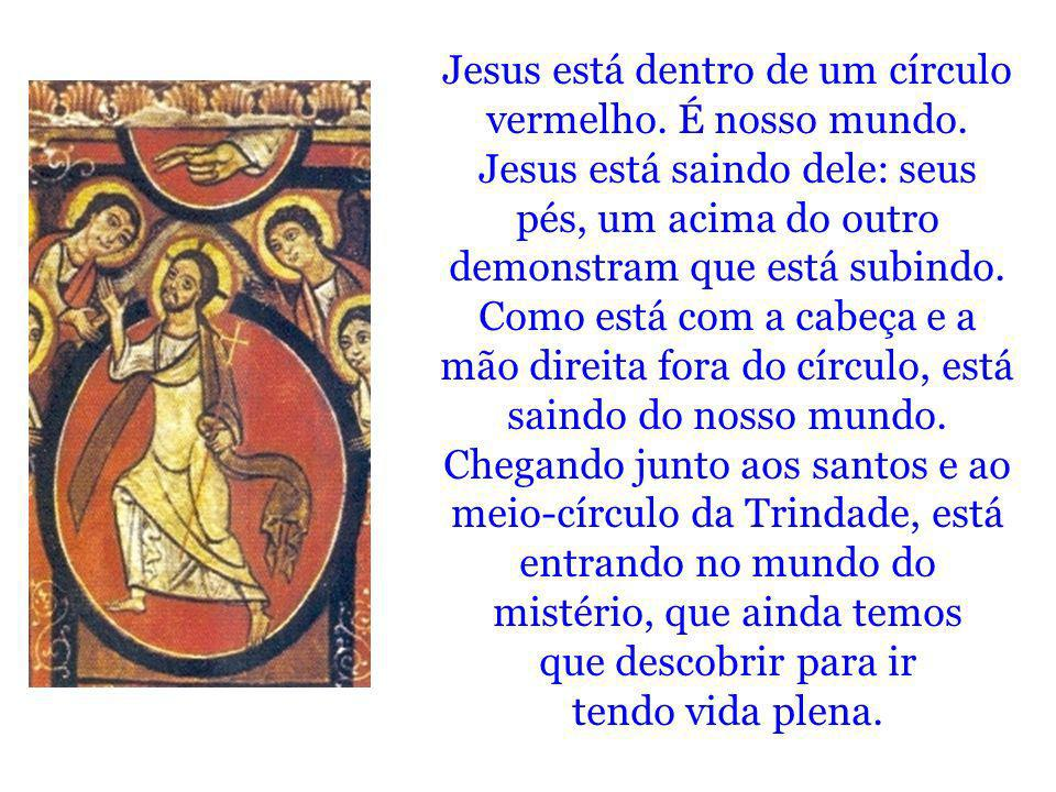 Jesus está dentro de um círculo vermelho. É nosso mundo. Jesus está saindo dele: seus pés, um acima do outro demonstram que está subindo. Como está co