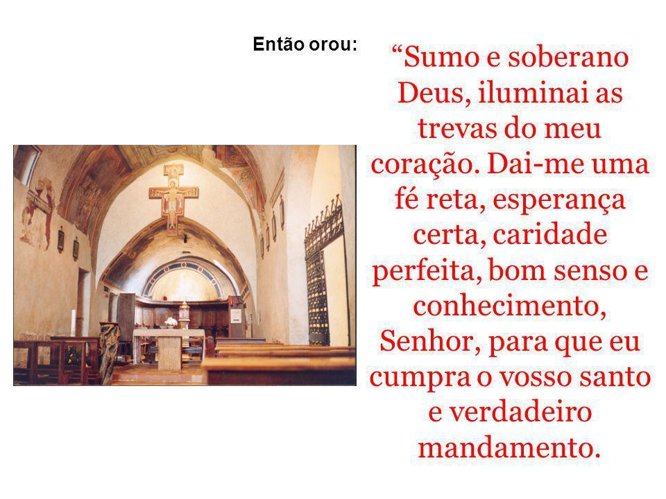 São Francisco orando diante do Crucifixo de São Damião, na concepção artística de Gioto, na basílica do Santo em Assis.