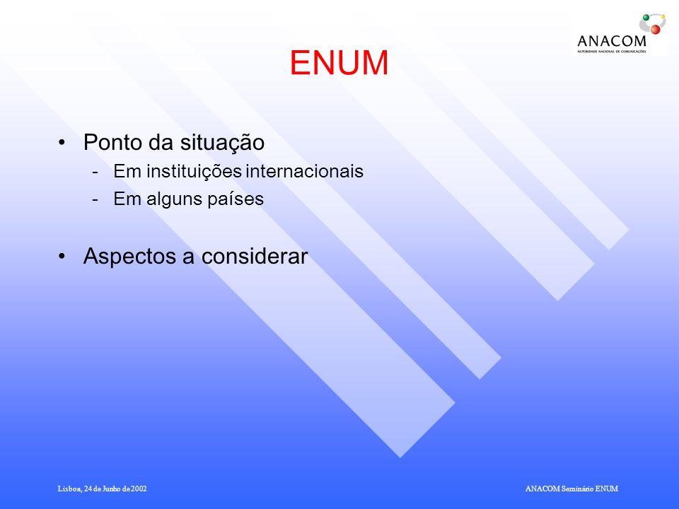 Lisboa, 24 de Junho de 2002ANACOM Seminário ENUM ENUM - Telephone Number Mapping Com o ENUM pretende-se possibilitar o acesso a aplicações Internet a partir de terminais que dispõem apenas de um número de telefone tradicional.