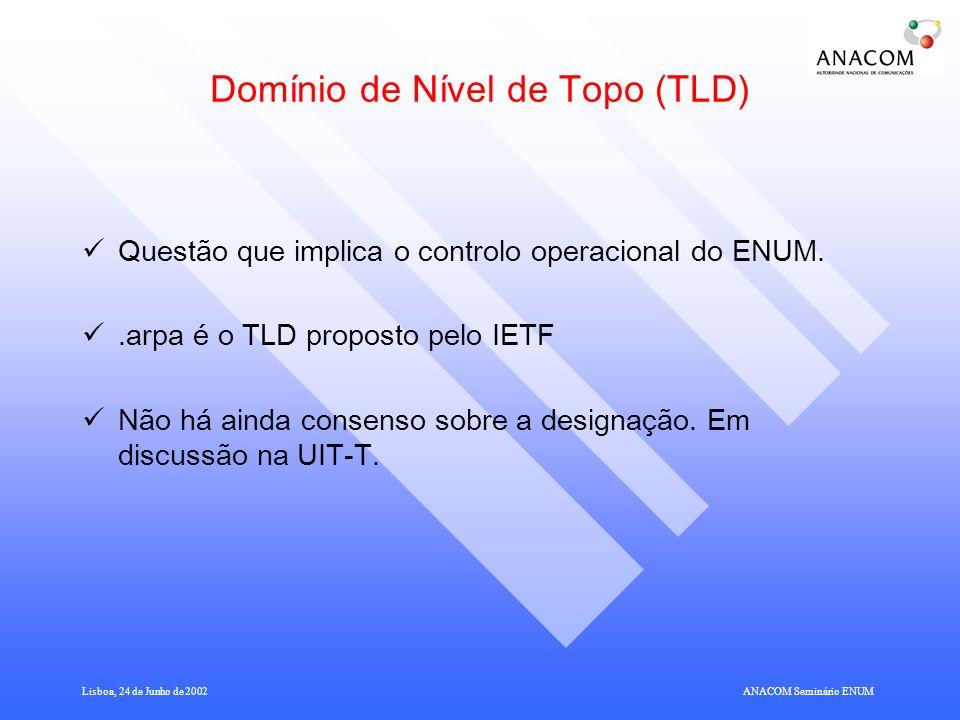 Lisboa, 24 de Junho de 2002ANACOM Seminário ENUM Domínio de Nível de Topo (TLD) Questão que implica o controlo operacional do ENUM..arpa é o TLD proposto pelo IETF Não há ainda consenso sobre a designação.