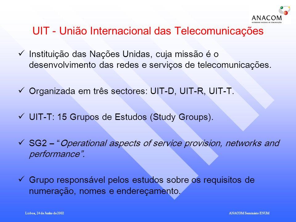 Lisboa, 24 de Junho de 2002ANACOM Seminário ENUM UIT - União Internacional das Telecomunicações Instituição das Nações Unidas, cuja missão é o desenvolvimento das redes e serviços de telecomunicações.