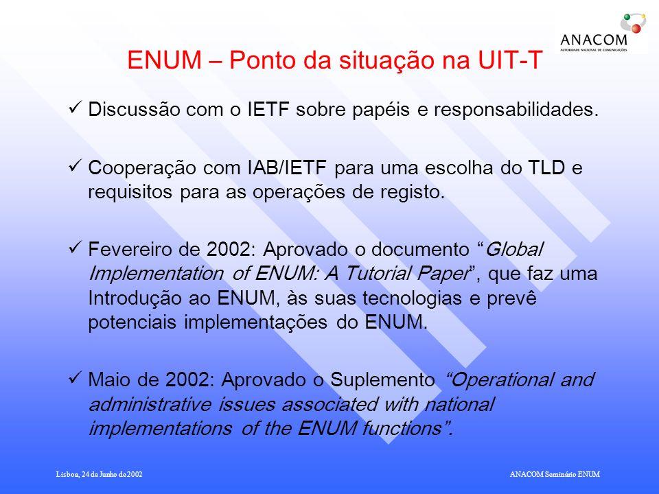 Lisboa, 24 de Junho de 2002ANACOM Seminário ENUM ENUM – Ponto da situação na UIT-T Discussão com o IETF sobre papéis e responsabilidades.
