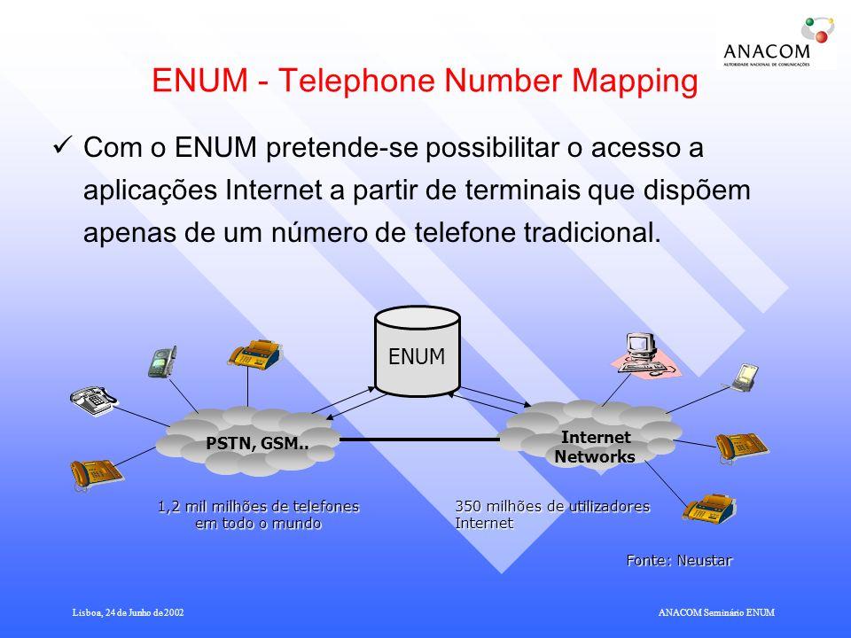 Lisboa, 24 de Junho de 2002ANACOM Seminário ENUM Modelo Funcional do ENUM Registry A Base de Dados do espaço dos nomes.