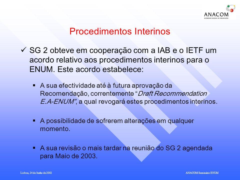 Lisboa, 24 de Junho de 2002ANACOM Seminário ENUM Procedimentos Interinos SG 2 obteve em cooperação com a IAB e o IETF um acordo relativo aos procedimentos interinos para o ENUM.