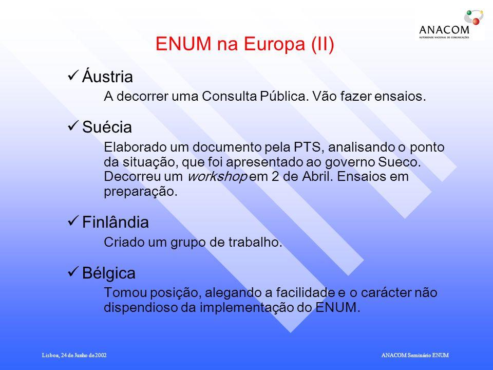 Lisboa, 24 de Junho de 2002ANACOM Seminário ENUM ENUM na Europa (II) Áustria A decorrer uma Consulta Pública.