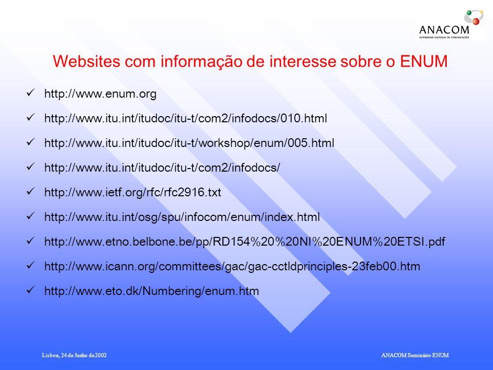 Lisboa, 24 de Junho de 2002ANACOM Seminário ENUM Websites com informação de interesse sobre o ENUM http://www.enum.org http://www.itu.int/itudoc/itu-t/com2/infodocs/010.html http://www.itu.int/itudoc/itu-t/workshop/enum/005.html http://www.itu.int/itudoc/itu-t/com2/infodocs/ http://www.ietf.org/rfc/rfc2916.txt http://www.itu.int/osg/spu/infocom/enum/index.html http://www.etno.belbone.be/pp/RD154%20%20NI%20ENUM%20ETSI.pdf http://www.icann.org/committees/gac/gac-cctldprinciples-23feb00.htm http://www.eto.dk/Numbering/enum.htm