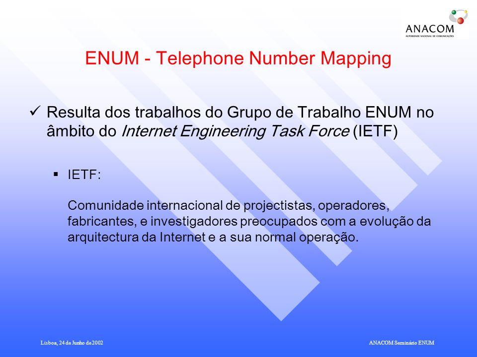 Lisboa, 24 de Junho de 2002ANACOM Seminário ENUM ENUM - Telephone Number Mapping Resulta dos trabalhos do Grupo de Trabalho ENUM no âmbito do Internet Engineering Task Force (IETF) IETF: Comunidade internacional de projectistas, operadores, fabricantes, e investigadores preocupados com a evolução da arquitectura da Internet e a sua normal operação.
