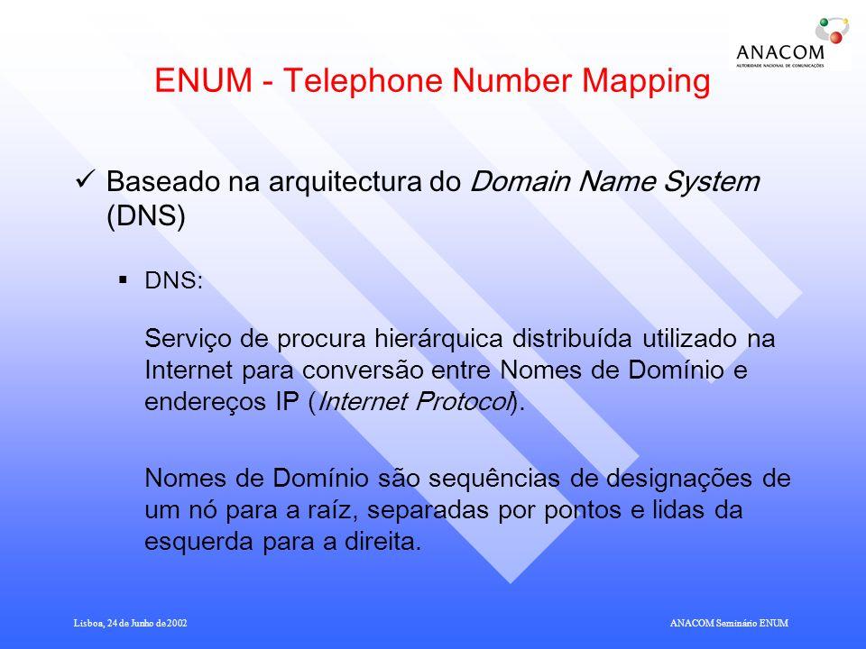 Lisboa, 24 de Junho de 2002ANACOM Seminário ENUM Ponto da situação em outros organismos internacionais ONP - Open Network Provision Committee, da Comissão Europeia.