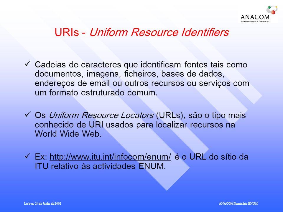 Lisboa, 24 de Junho de 2002ANACOM Seminário ENUM URIs - Uniform Resource Identifiers Cadeias de caracteres que identificam fontes tais como documentos, imagens, ficheiros, bases de dados, endereços de email ou outros recursos ou serviços com um formato estruturado comum.