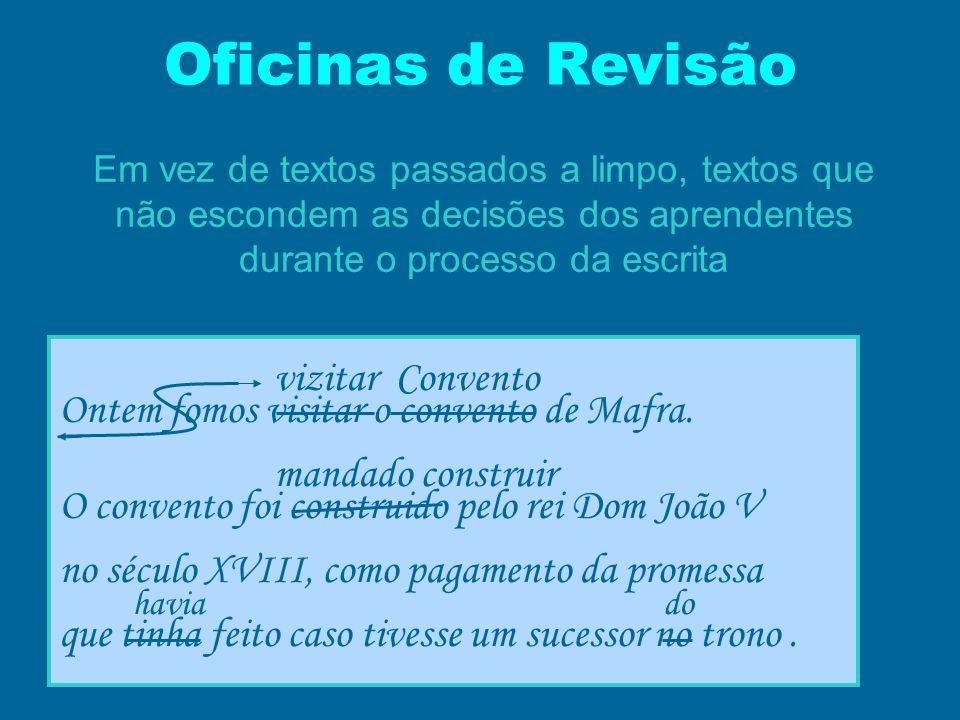 Oficinas de Revisão Em vez de textos passados a limpo, textos que não escondem as decisões dos aprendentes durante o processo da escrita vizitar Conve