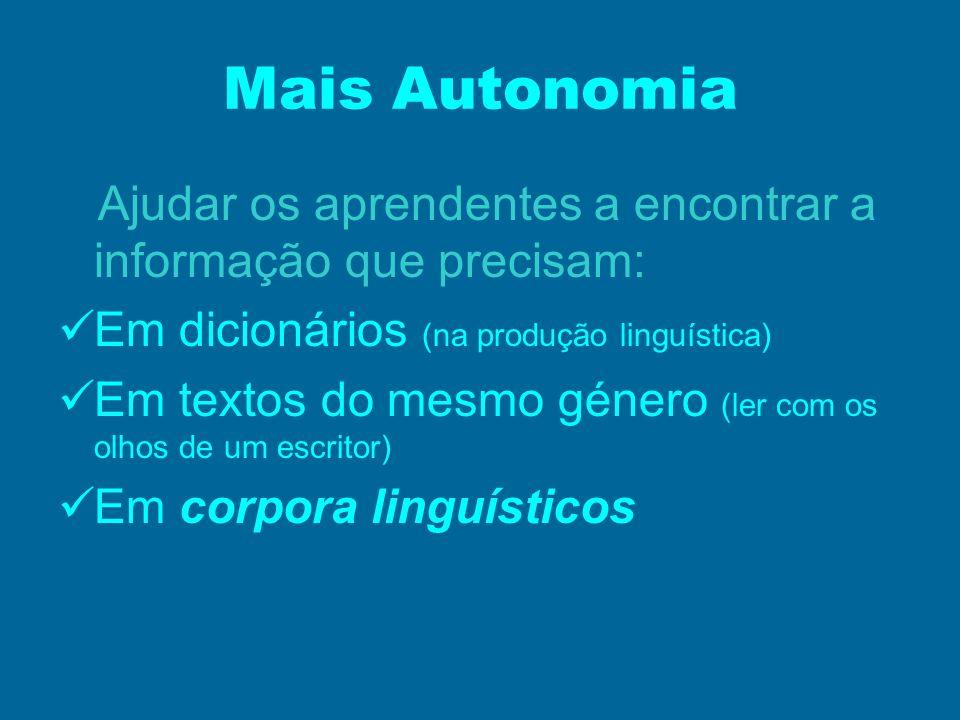 Mais Autonomia Ajudar os aprendentes a encontrar a informação que precisam: Em dicionários (na produção linguística) Em textos do mesmo género (ler co