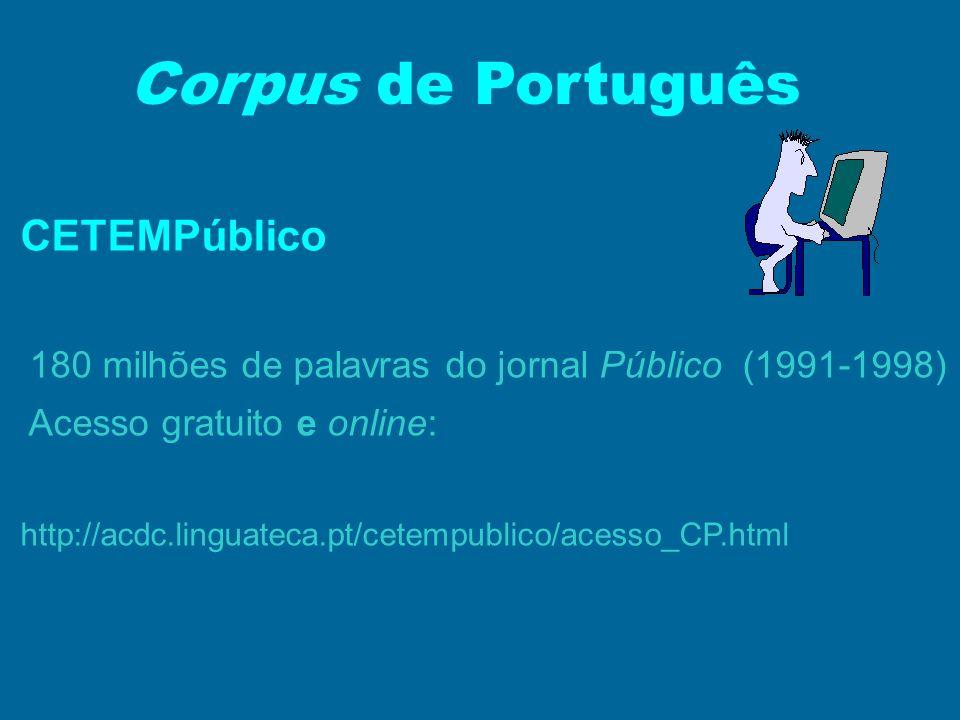 Corpus de Português CETEMPúblico 180 milhões de palavras do jornal Público (1991-1998) Acesso gratuito e online: http://acdc.linguateca.pt/cetempublic