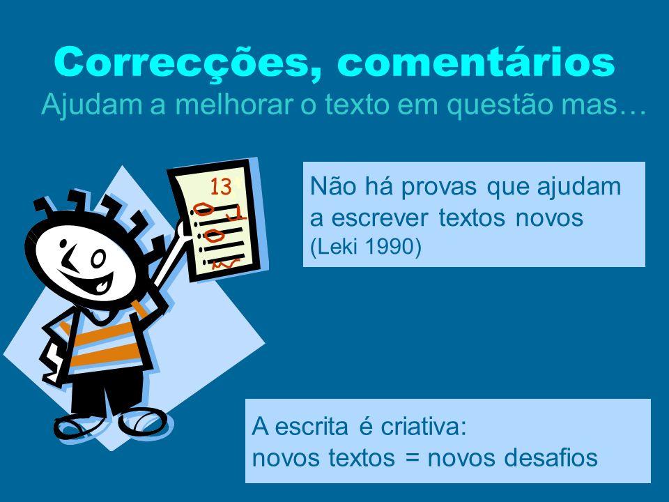 Correcções, comentários Ajudam a melhorar o texto em questão mas… 13 Não há provas que ajudam a escrever textos novos (Leki 1990) A escrita é criativa