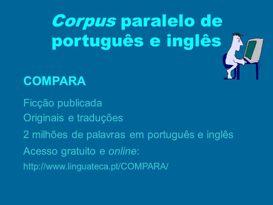 Corpus paralelo de português e inglês COMPARA Ficção publicada Originais e traduções 2 milhões de palavras em português e inglês Acesso gratuito e onl