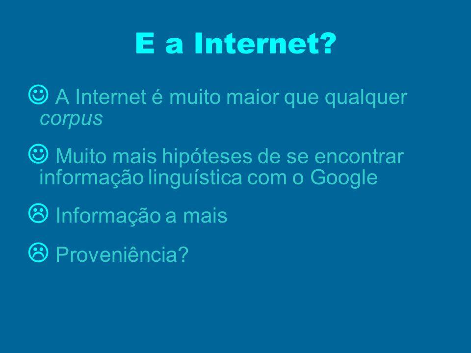 E a Internet? A Internet é muito maior que qualquer corpus Muito mais hipóteses de se encontrar informação linguística com o Google Informação a mais