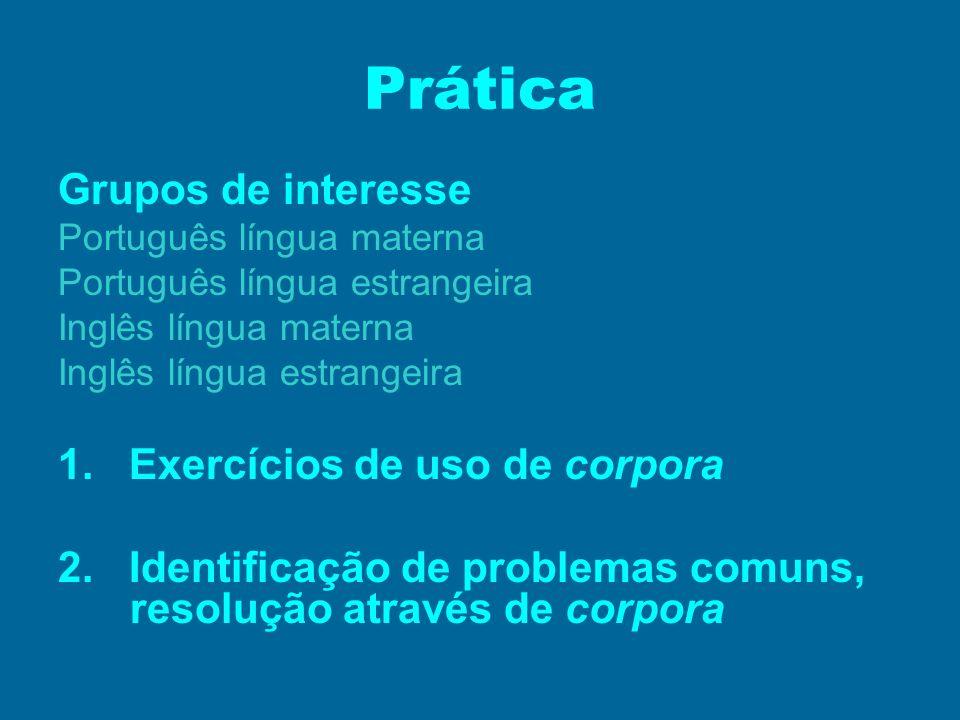 Prática Grupos de interesse Português língua materna Português língua estrangeira Inglês língua materna Inglês língua estrangeira 1. Exercícios de uso